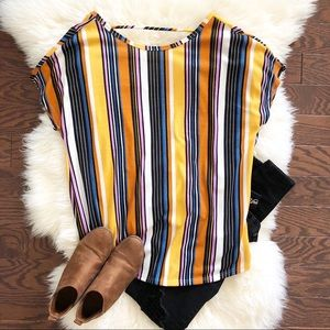 Multi-Colored Striped Short Sleeve Open Back Top M